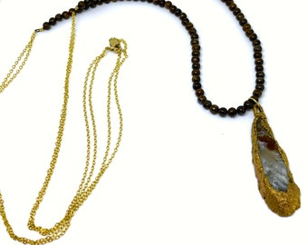Ribbon Agate 24k Gold Electroplate with Jasper Beads