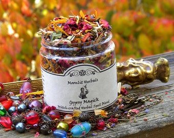 Gypsy Magick Herbal Spell Blend  - Luck, Fortune, Divination, Travel, Psychic Awareness, Spirituality, Altar Incense, Candle Magick, Pagan