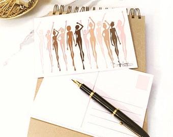 Women's March Illustrated Postcard-Brooke Hagel-Fashion Illustrator-Stronger Together-The Future Is Female-Sketch-Brooklit