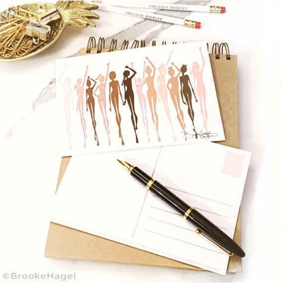 Women's March Illustrated Postcard-Brooke Hagel-Fashion Illustrator-Stronger Together-The Future Is Female-Sketch-Brooklit
