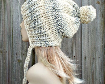Moonlight Grey and Cream Slouchy Beanie Pom Pom Hat - Winter Womens Hat - Charlotte