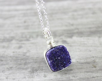 Violet Druzy Necklace, Sterling Silver Necklace, Druzy Quartz Necklace, Drusy Necklace, Light Purple Necklace, Wire Wrap Necklace, Pendant