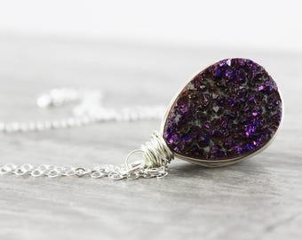 Dark Purple Druzy Necklace, Wire Wrap Necklace, Sterling Silver Necklace, Silver Druzy Necklace, Teardrop Pendant Necklace, Gemstone