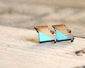 Heart STL Earrings / St Louis Earrings / Missouri / Tiny Wooden Studs / Vintage Modern Jewelry