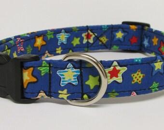 Colorful Stars on Blue Printed Handmade Dog Collar