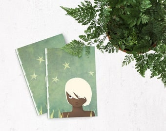 The boy and the stars - A5 handmade notebook made of recycled paper