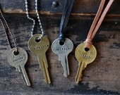 Hand Stamped Key Necklace - Custom Key Necklace - Custom Word Key - Custom Name Key - Hand Stamped Jewelry - Personalized Key Necklace