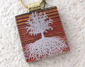 Red Tree of Life Necklace, Fused Glass Jewelry, Tree of Life, Fused Glass Pendan, Rooted Tree Necklace, Dichroic Glass Jewelry, 102116p106