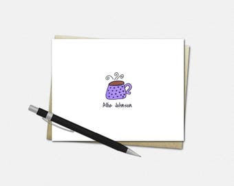 Personalized Coffee Mug Note Cards - Coffee Mug Note Cards - Set of 10 - Folded Note Cards - Stationery for Her - Coffee Mug Stationery