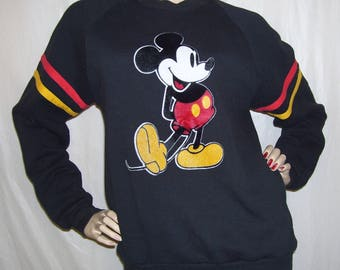 Mickey Mouse Sweatshirt Vintage 1980s Disney Ringer Shirt Pullover Vtg Black Flocked Mickey Mouse Raglan Sleeve Unisex Adult Shirt  L