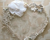 Lace heart made with vintage bridal veil and ivory millinery flowers