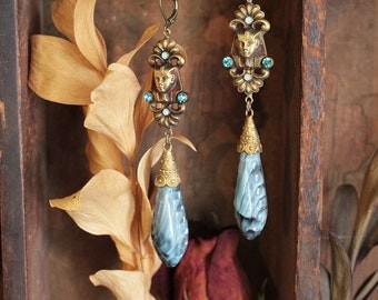 Antique Egyptian Marbled Glass Drop Flapper Earrings