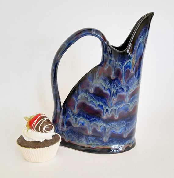 Ceramic Pitcher - Stoneware Pitcher - Beverage Server - Ceramic Jug - Ceramic Pitcher - Vase - Utensil Holder - Blue - Gift for Her