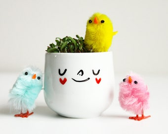 Ceramic planter. Egg cup w/ heart cheeks + seeds to grow your own alfalfa sprout hair! Kids growing gift or home decor. Housewarming gift.
