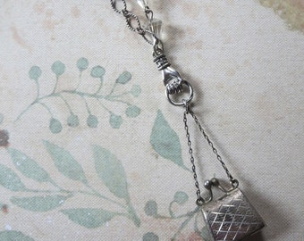 Vintage Sterling Mechanical Carpet Bag Purse Charm With Kiss Lock Closure on Hand Charm Pendant Necklace with Silvertone Textural Chain