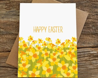 happy easter card / daffodil field