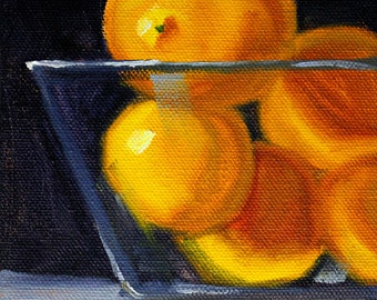 Citrus Fruit, Lemon Still Life, Original 5x7, Oil Painting, Yellow Kitchen, Small Wall Decor, Canvas Art, Glass, Tropical, Black
