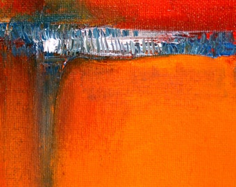Modern Abstract, Oil Painting, Contemporary, Mid Century Inspired, 4x6 Canvas, Small Miniature, Red Orange, Blue Gray, Wall Decor Original