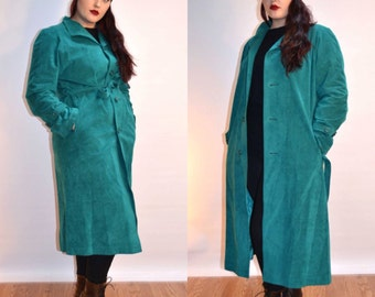 blue suede coat, size large coat, suede trench coat, long coat, USA MADE, winter coat, turquoise coat, gift for her,