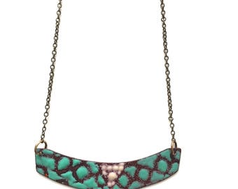 Aqua Enamel Reversible Necklace