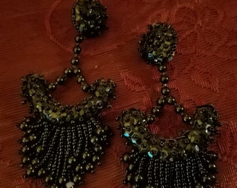 ON SALE Gorgeous Vintage Black Beaded Duster Earrings, 4 3/8 inches long