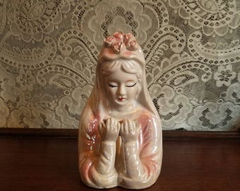 "Vintage 1950's Ceramic Virgin Mary Crown of Roses Statue, Pink 5 1/4"" Tall"