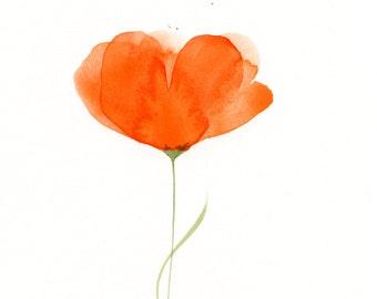"Watercolor flowers, original watercolor painting of an orange flower: ""Orange Unfolding"""