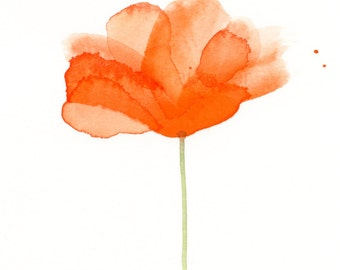 "Orange watercolor flower painting: ""Blossoming"""