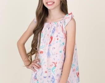 Girls Mermaid Shirt -  Girls Shirt - Mermaid Outfit -  Girls Summer Shirt - Girls Pink Mermaid Top - Mermaid Top - Summer Outfit - Mermaid