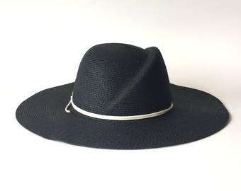 Wide Brim Black Summer Hat Toyo Straw Hat Wide Brim Black Millinery Hat White Trim Made to Order Custom