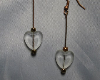 Copper and Crystal Hearts Earrings
