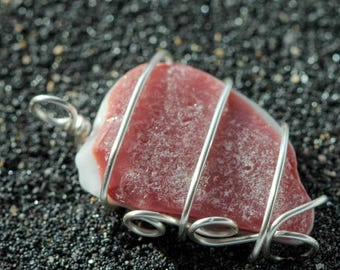 Pink Flash Sea Glass pendant - Sea glass jewelry - Wrapped sea glass - Boho jewelry - Boho style - Pink beach glass - Gift beach lover