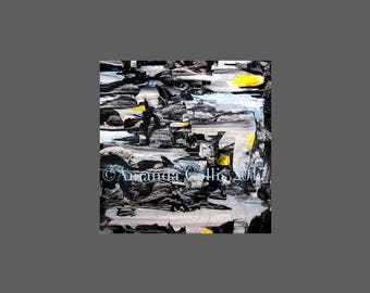 Fine art print from painting, small, black and white, gold, pale blue, grey