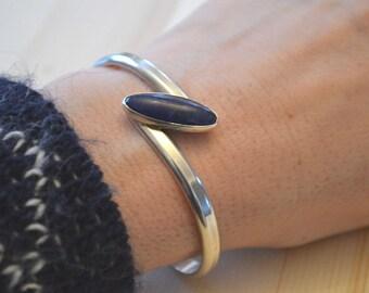 Sodalite Bracelet, Sterling Silver Cuff, Blue Sodalite Cuff, Vintage Cuff Bracelet, 1970s Cuff Bracelet, Silver Bracelet, Modernist Bracelet