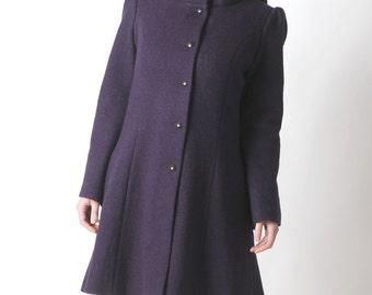 Purple wool coat, Dark purple womens coat with pixie hood, Purple hooded winter coat, virgin wool coat, Womens clothing, MALAM, Winter coat