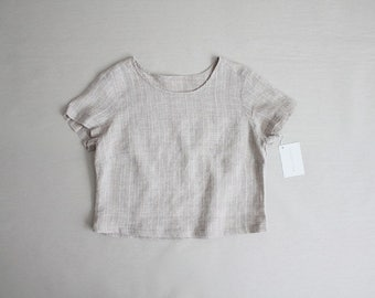 linen crop top   neutral linen blouse   linen t shirt