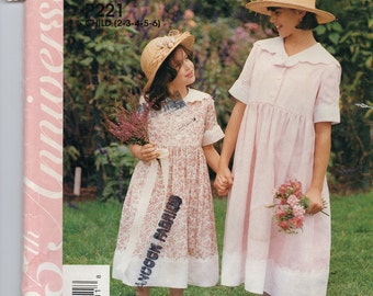 McCall's P221 Children's and Girls Dress Size 2-3-4-5-6 Uncut Pattern