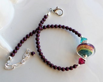 Boro Bracelet, Teal Purple Fuchsia Green Bracelet, Silver Glass Bracelet, Pearl Bracelet, Bangle Bracelet, Lampwork Bracelet, Flex Bangle