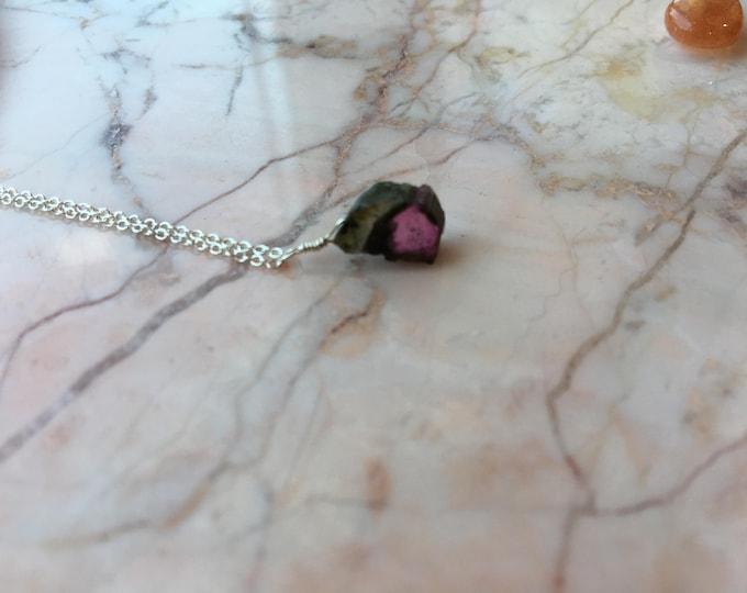 Watermelon Tourmaline Slice Littles Necklace