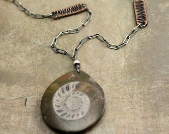Ammonitea Necklace in Sterling Silver, Copper and Ammonite Fossil
