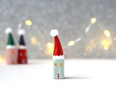 Little Christmas home - mint green house with red Santa hat with soft white pom pom