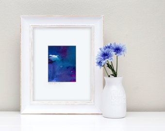 """Blue Abstract Watercolor Painting, Abstract in Mat """"Mystic Journey"""" Original Art Mystical Spiritual FRAME READY Kathy Morton Stanion  EBSQ"""