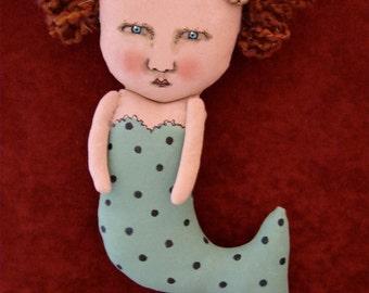 mermaid art doll,sandy mastroni, whimsical, polka dot , pearl earring,wall art,sea green