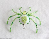 Irish Shamrock Spider - Beaded Spider - Mothers Day Gift - Spring Summer - Saint Patricks - St Pattys - Good Luck Charm - Christmas Ornament