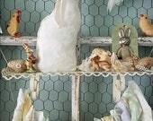 Bunny Rabbit, Stuffed Fabric Bunny, Easter Bunny, Fabric Rabbit, Rabbit Pillow, Spring Decor, Cloth Rabbit, Shabby Chic Bunny, Shabby Rabbit