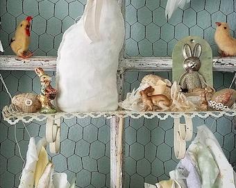 Bunny Rabbit, Stuffed Fabric Bunny, Easter Bunny, Fabric Rabbit, Rabbit Pillow, Woodland Wedding, Cloth Rabbit, Shabby Bunny, Nursery Decor