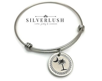 Stainless Steel & Pewter Hand Stamped Bangle Bracelet - SC Jewelry South Carolina Bracelet