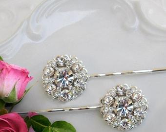 Crystal hair pins, wedding hair clips, bridal bobby pins, bridesmaids hair pin, crystal hair brooch, crystal U-pin, wedding bobby pins