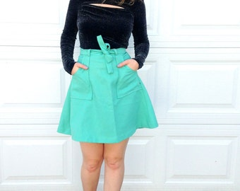 1960's Mint Green Wrap Skirt / Bold Pockets / Size Medium / 60's miniskirt / 70s mini skirt / Wrap Around / Easter Green / Spring Clover 8