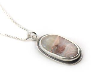 Long Copper Lake Superior Agate Sterling Silver Handmade Pendant